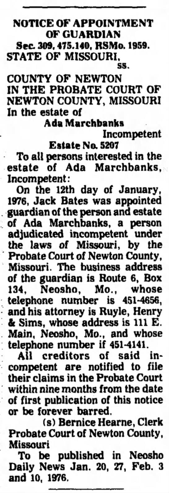 Ada Marchbanks Estate -