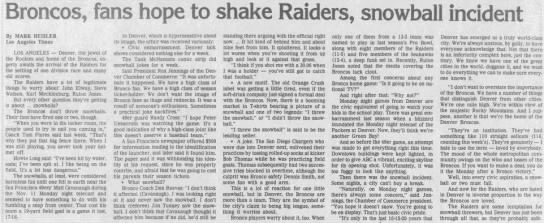 Broncos, fans hope to shake Raiders, snowball incident -
