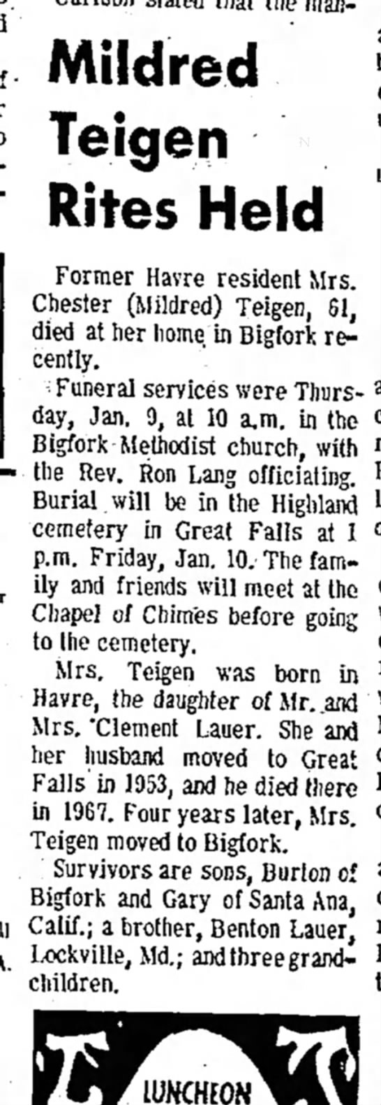 teigen Mildred, Havre Daily News, 9 January 1975 -