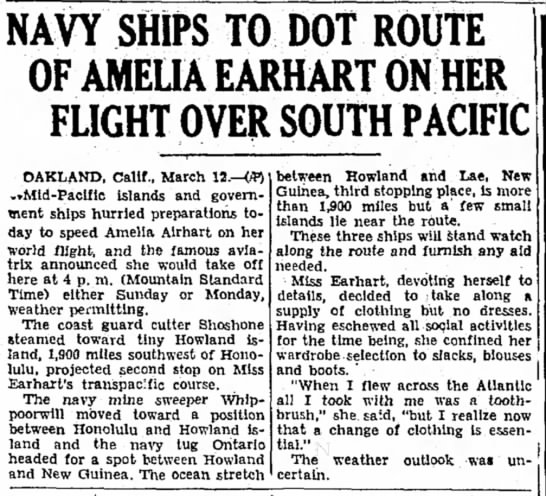 Navy ships to dot route of amelia earhart on her flight over south pacific -