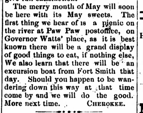 Picnic on the river at Gov Watts' place -