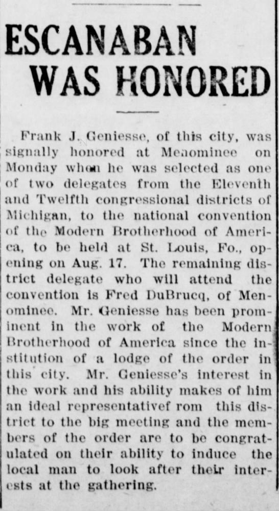 DuBrucq, Fred Delegate Escanaba Morning Press Jul 1915 -