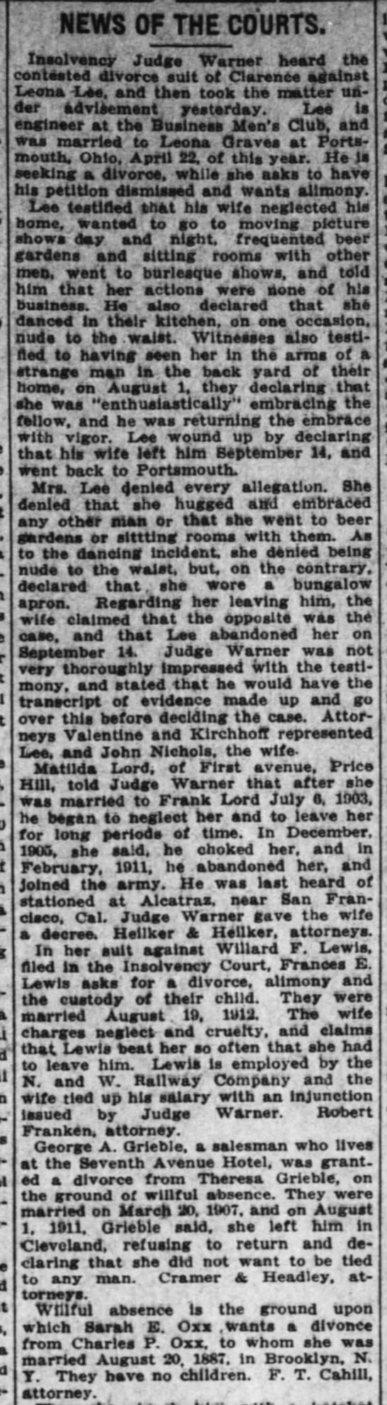 Sarah Oxx Divorce 2 Dec 1914 -