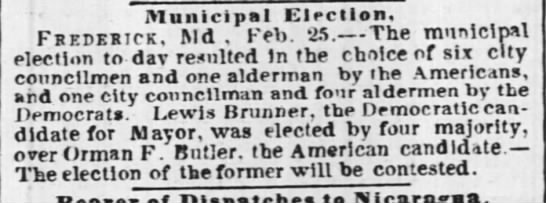 BrunnerLewisAMayor elected - Municipal election, Frederick, Md , Feb. 25....