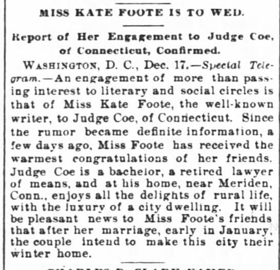 Kate Foot and Andrew Coe engaged (1894) -