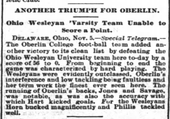 Another Triumph for Oberlin: Ohio Wesleyan 'Varsity Team Unable to Score a Point -