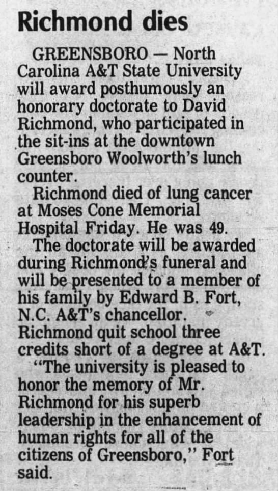 David Richmond, part of the Greensboro Four, dies of lung cancer -