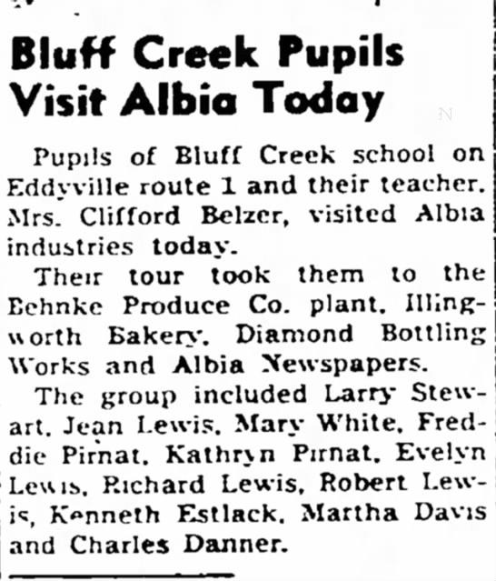 Bluff Creek Pupils MCN 10 May 1954 Pg 6 -