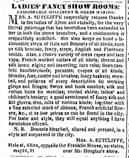 Women's clothes and accessories for sale (Illinois, 1850) -