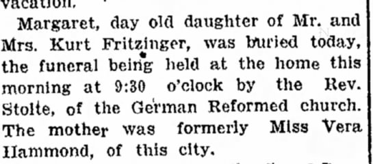 Margaret Fritzinger burial