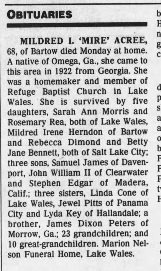 Mire' Acree Obituary - 06 Mar 1991, Wed  Tampa Tribune  - Newspapers com