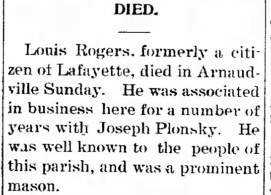 Louis Rogers obit 1903 -