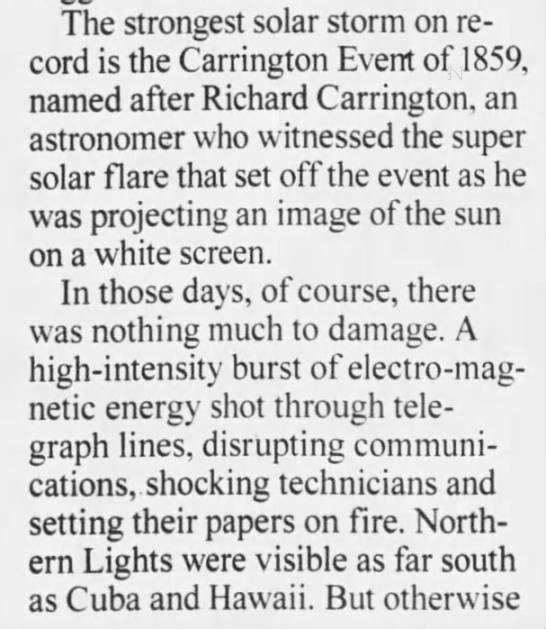 Carrington Event of 1859 -