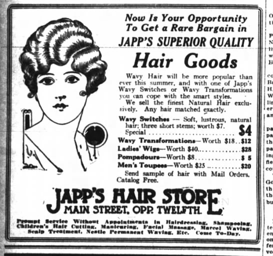 Japp's Hair Store - Now It Your Opportunity To Get a Rare Bargain...