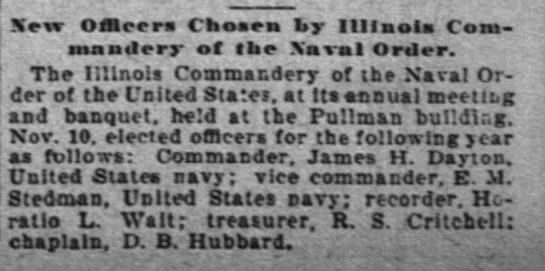 Edward M. Stedman elected to Ill Commandery of teh Naval Order The Inter Ocean 12 Nov 1896 -