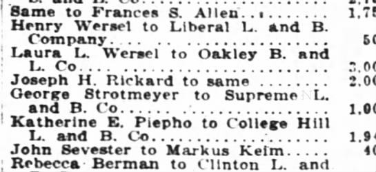 Strotmeyer to Supreme L and B. Co. - ! Same to Frances S. Allen. . ; Henry Werael to...