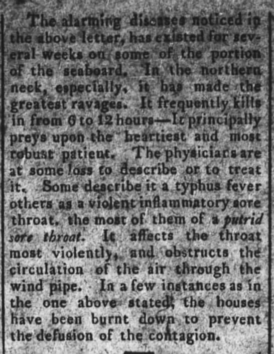 The Maryland Gazette (Annapolis, Maryland) 19 January 1815, page 3, col 4 -