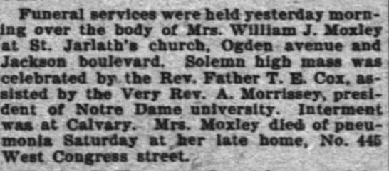 Wife of William J Moxley funeral services -