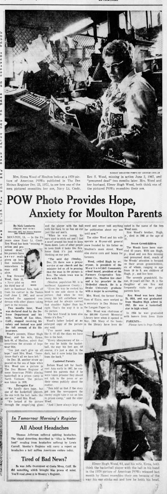POW photo provides hope; anxiety for Moulton parents: Elmer and Erma Wood -