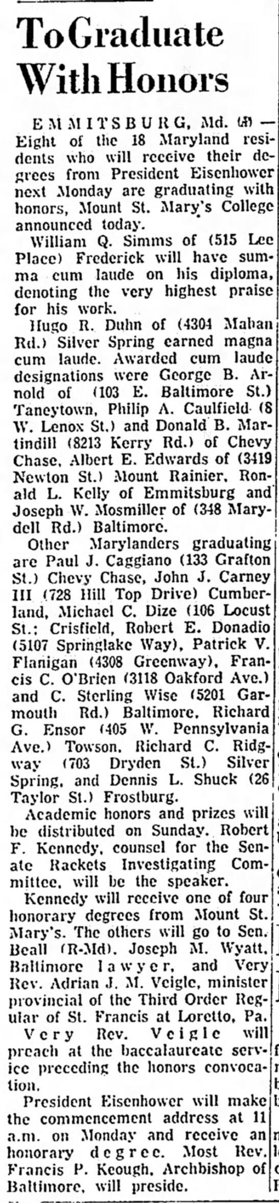 May 26, 1958The NewsFrederick, Maryland -