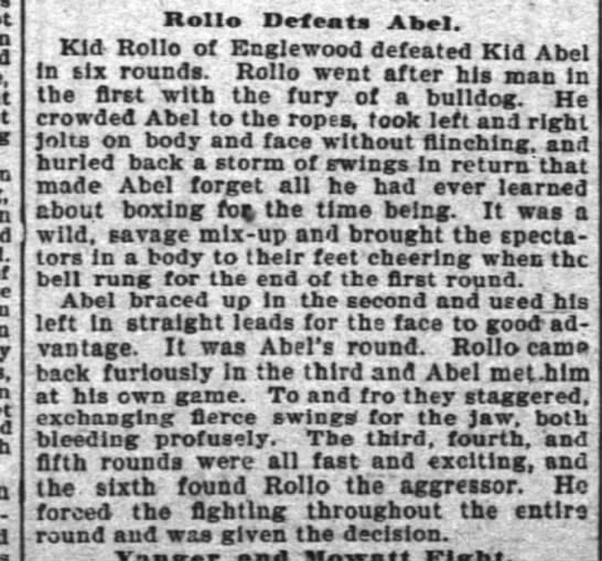 - Roll Defeats Afsal. ' ' Kid Rollo of Englewood...