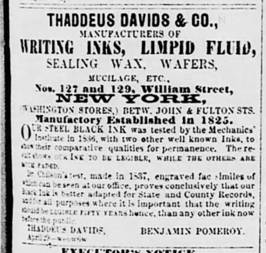 1859 - Thaddeus Davids ad with address, manufactury est. 1825 -