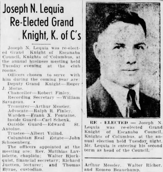 Joseph Lequia re-elected to K of C Jun 1944 -