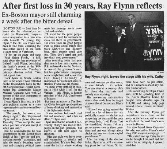 After first loss in 30 years, Ray Flynn reflects -