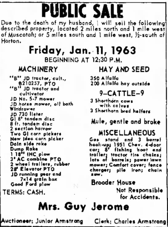 Atchison Daily Globe 9 Jan 1963 Jerome farm sale -