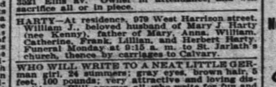 William Harty 1902 obit - a Is sacrtn.ee all or In piece. H ARTY At...