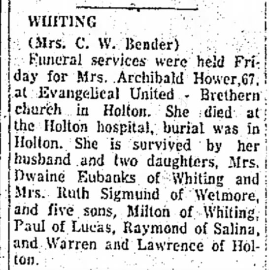 Mrs Archibald Hower dies (Mayetta's mom) - 1951 -