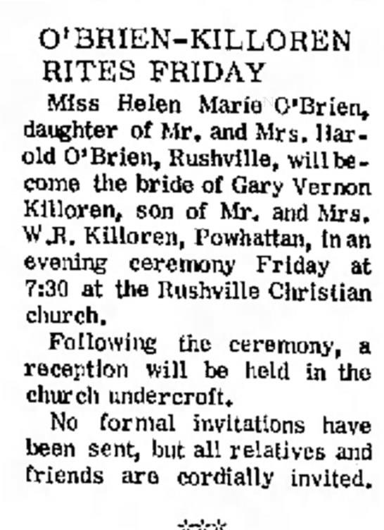 Gary Killoren wedding anouncement Atchison Daily Globe 8 Feb 1970 -