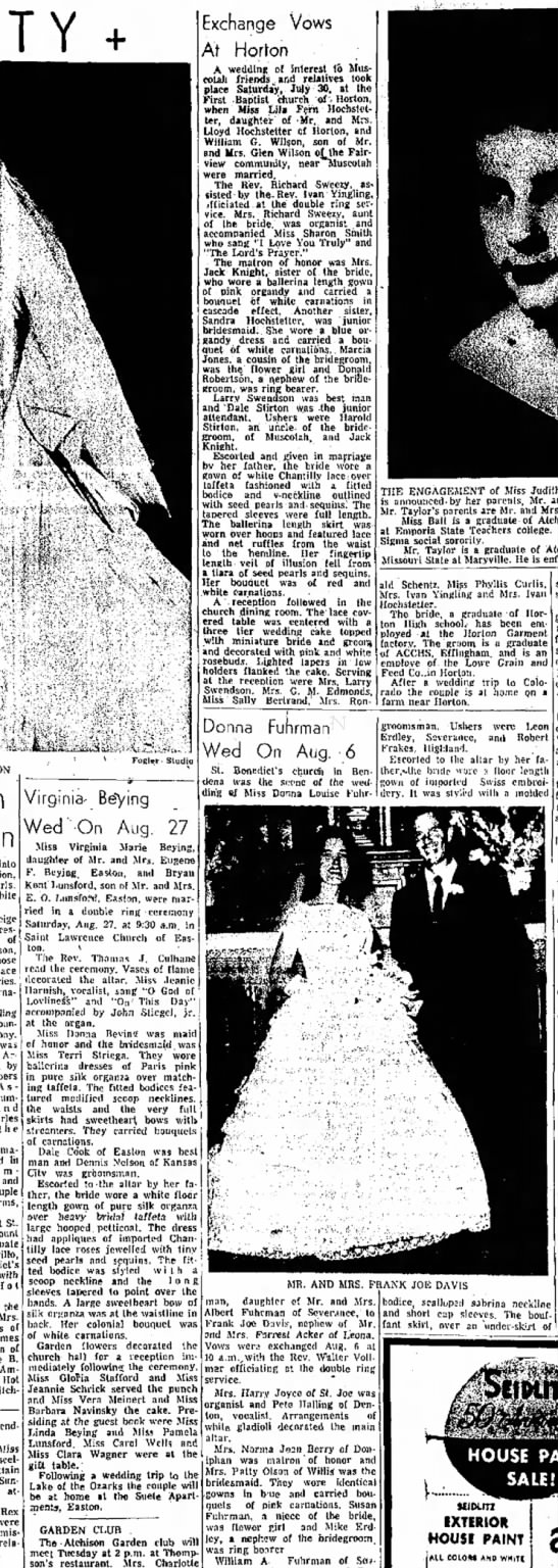 virginia beying wedding notice 9/4/1960 -