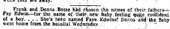 Faye Edwina Birth -