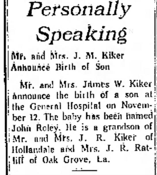 John Roley Kiker birth 22 Nov 1959 Delta Democrat -