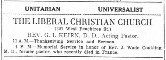1918.11.23 Ad Liberal Christian. Thanksgiving and Memorial Service for Conkling -