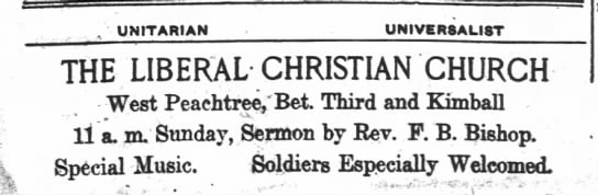 1918.08.17 Large Ad for Liberal Christian Church. Rev. F.B. Bishop in Pulpit -