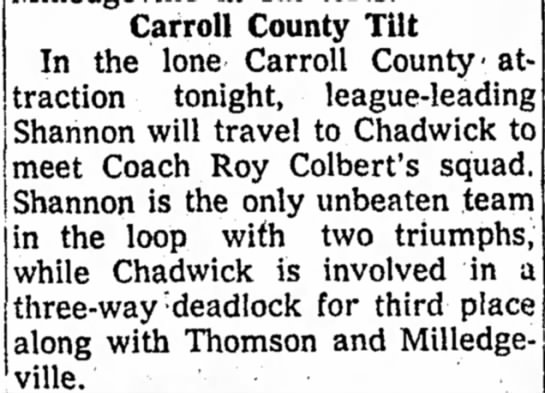 Roy - Chadwick coach - Carroll County Tilt In the lone Carroll County'...