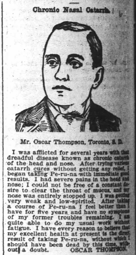 1898 Oscar Thompson from Toronto SD does ad to cure catarrh -