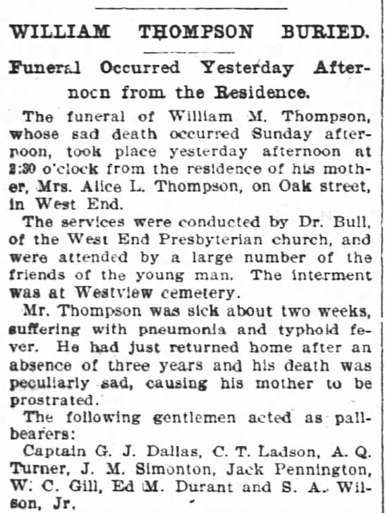 1897 Wm M Thompson buried mention of mother Alice L Thomson Oak St -