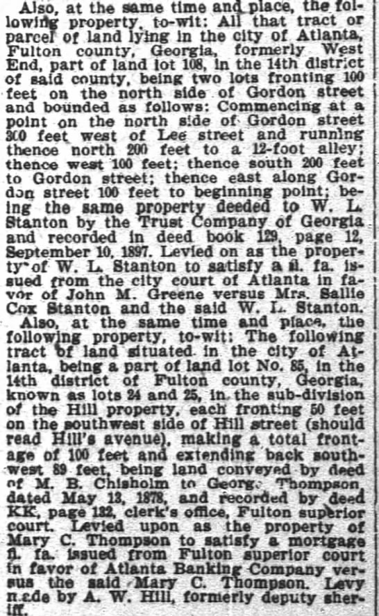 1897 Levy on Hill Ave property George and Mary C Thompson -