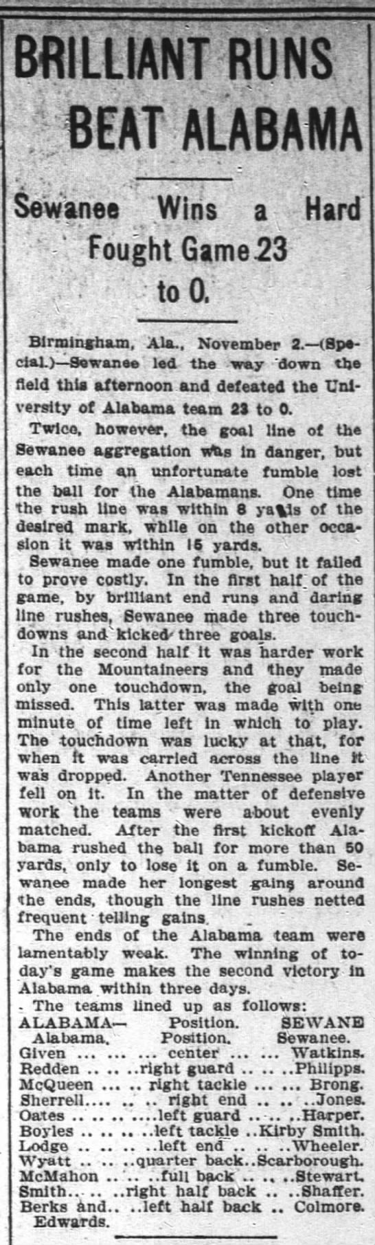 """Brilliant runs beat Alabama,"" The Atlanta Constitution, November 3, 1903, p.9 -"