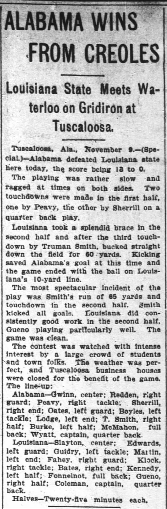 """Alabama wins from creoles,"" The Atlanta Constitution, November 10, 1903, p. 9 -"