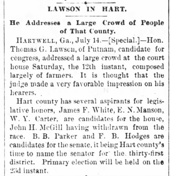 John H McGill withdrawn from race Atlanta Constitution 15July1890 -