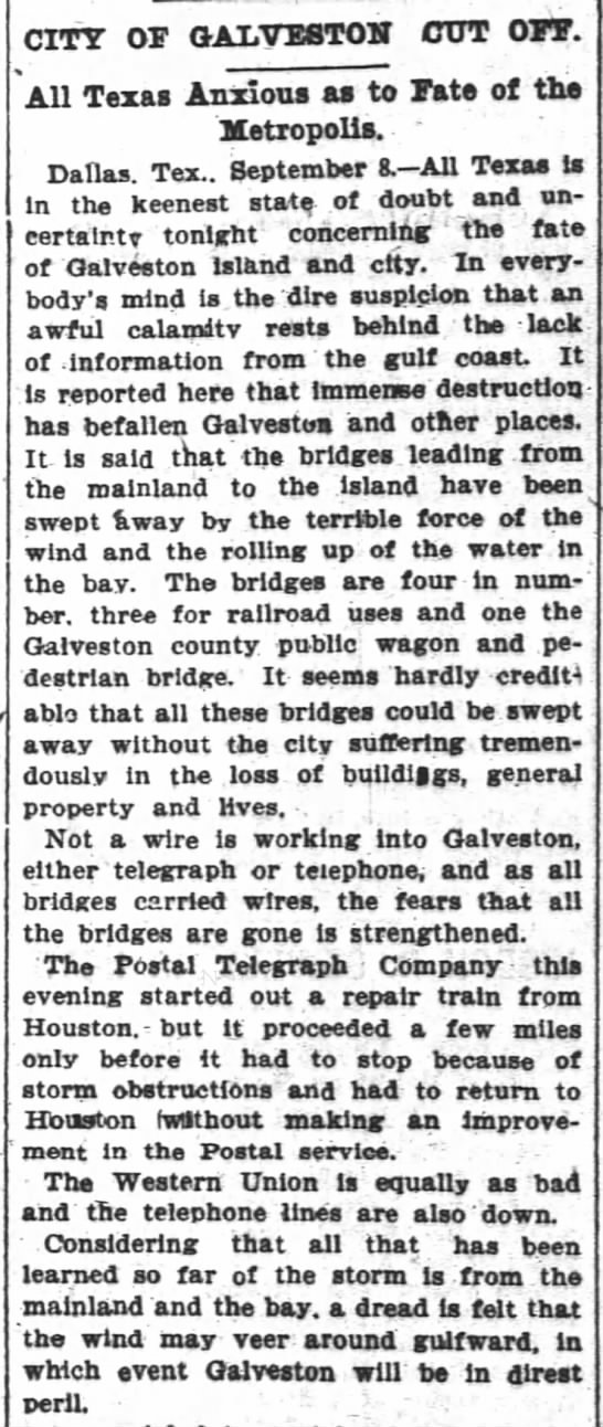 Galveston cut off from the mainland as anxious await news of damage - Great Storm of 1900 -