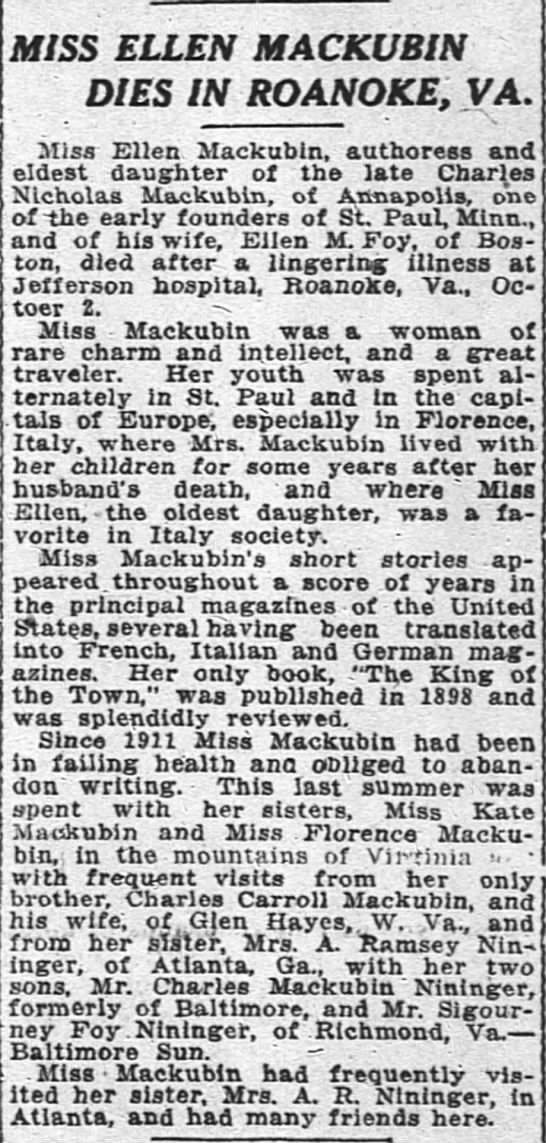 - MISS ELLEN MACKUBIN DIES IN ROANOKE, VA. Miss...