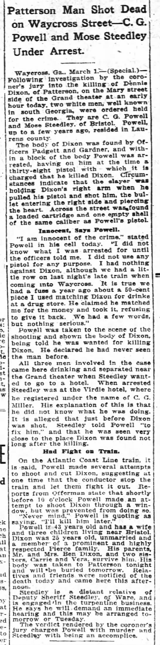 Moses Steedley arrested for shooting a man, 2 MAR 1914