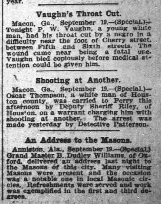 1900 Oscar Thompson Macon shot at another man -