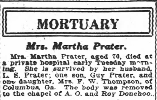 Mrs. Martha Prater -