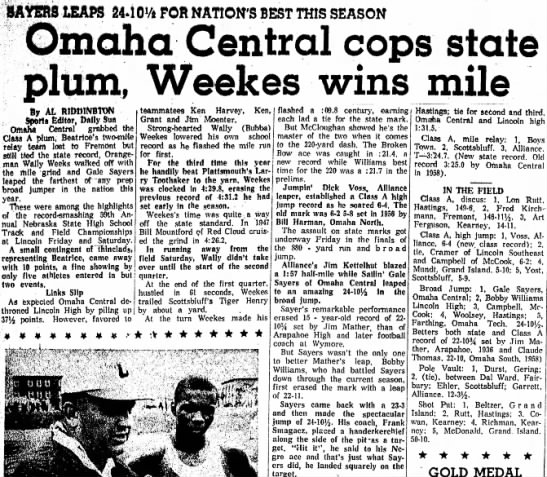 Omaha Central cops state plum, Weekes wins mile -